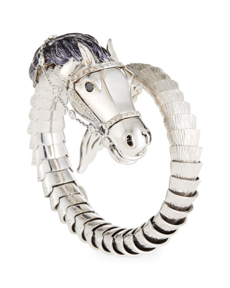 Roberto Coin 18k Diamond Horse Bangle Bracelet, White Gold