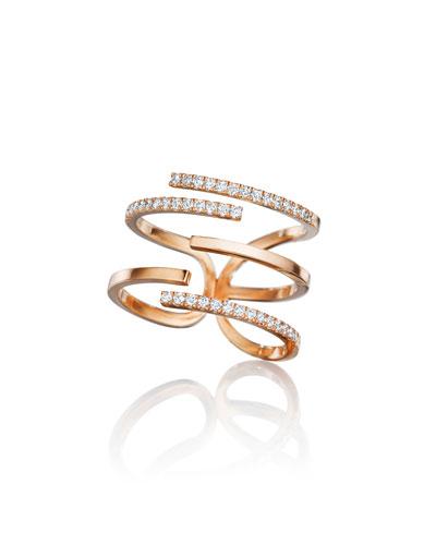Piece 18k Rose Gold Diamond Stick Ring