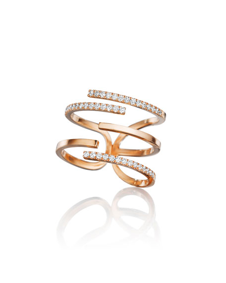 Mimi So Piece 18k Rose Gold Diamond Stick Ring