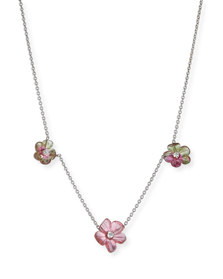 Floral Tourmaline Station Necklace with Diamonds