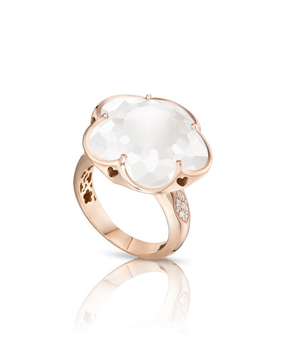 Bon Ton White Quartz & Diamond Ring in 18K Rose Gold, Size 6.5