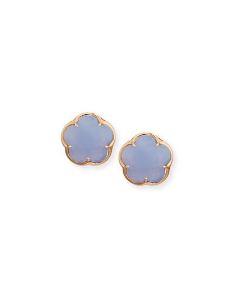 Bon Ton Chalcedony Flower Stud Earrings in 18K Rose Gold