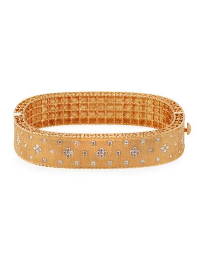 18K Rose Gold Princess Diamond Bangle