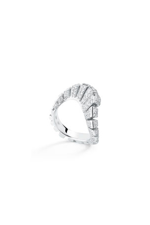 Miseno Ventaglio 18k White Gold Diamond Fan Ring, Size 6.5