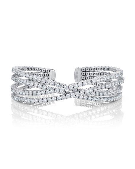 Bessa Crossover Diamond Cuff Bracelet in 18K Gold