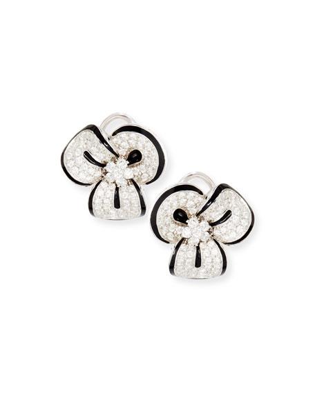 Diamond & Black Enamel Clover Earrings
