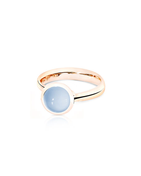 Tamara Comolli Small Bouton Blue Chalcedony Cabochon Ring,