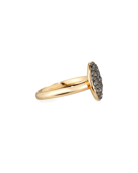 Sabbia 18k Rose Gold & Black Diamond Ring, Size 52