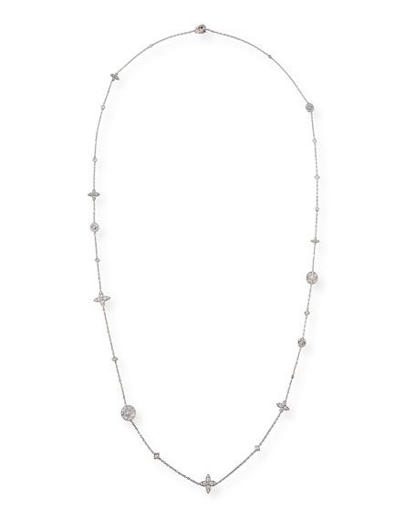 Lucilla Quatrefoil Diamond Station Necklace in 18K White Gold