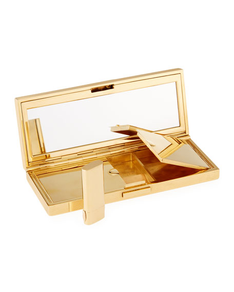 NM Estate 14K Gold Compact with Rubies