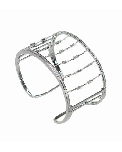 18k White Gold Diamond Chain Cuff Bracelet