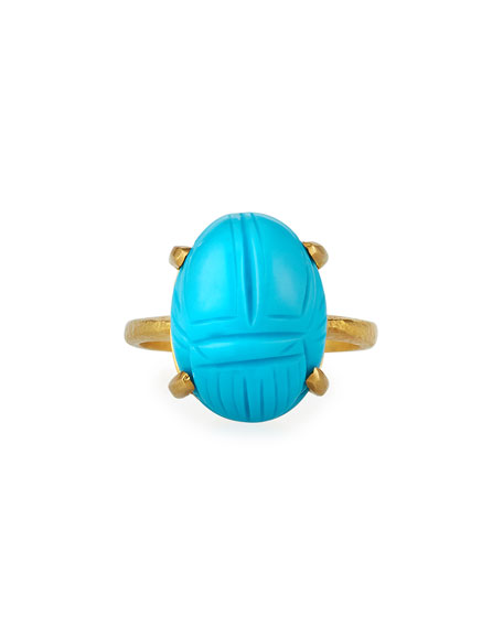 Elizabeth Locke 19k Carved Turquoise Oval Ring