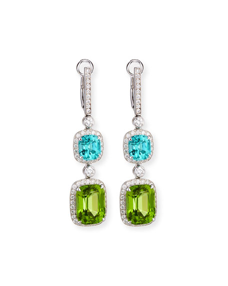 18K White Gold Diamond, Tourmaline & Peridot Drop Earrings
