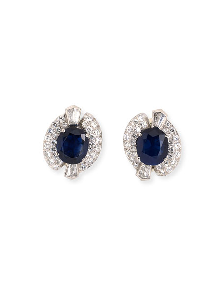 NM Estate Estate Platinum Diamond Twisted Oval Sapphire Clip Earrings