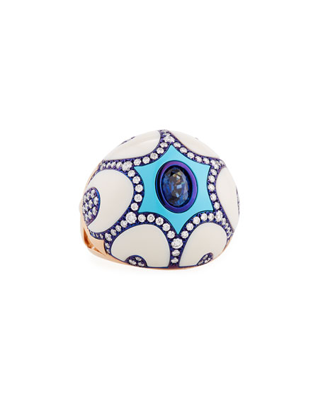 Turquoise & 18K Rose Gold Ring with Blue Sapphire & Diamonds