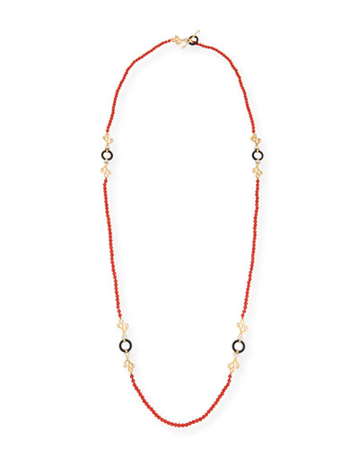 Sea Leaf Long Beaded Coral Necklace with Diamonds