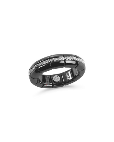 Black Ceramic & 18K White Gold Eternity Ring with Diamonds, 0.42tdcw