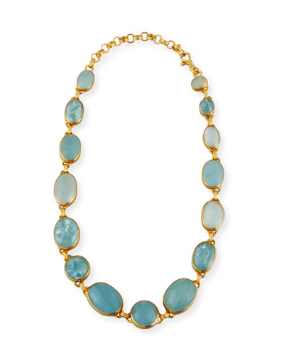 Laguna Aquamarine Station Necklace in 24K Gold