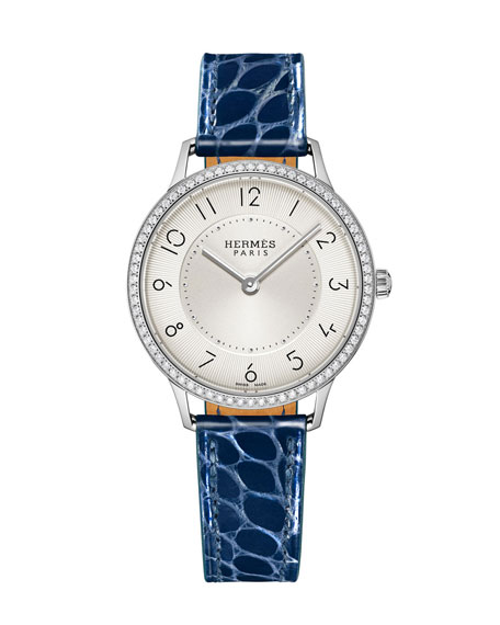 Slim D'Hermès Diamond Watch, Stainless Steel & Alligator Strap
