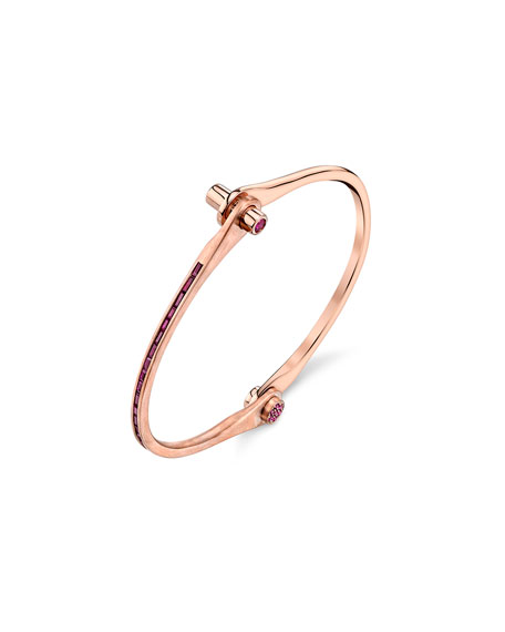 Baguette Ruby Handcuff Bracelet in 18K Rose Gold