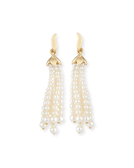 Pearl Tassel Clip-On Earrings
