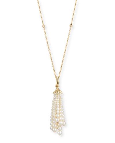 UTOPIA Pearl Tassel Pendant Necklace With Diamonds In 18K Gold