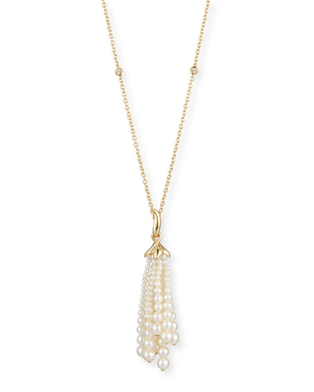 Pearl Tassel Pendant Necklace with Diamonds in 18K Gold