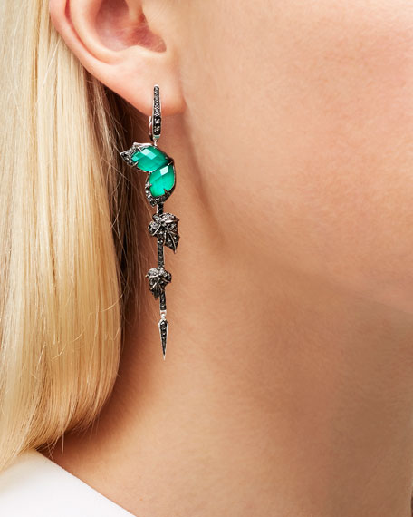 Love Me Love Me Not Green Agate Quartz Earrings with Black Diamonds