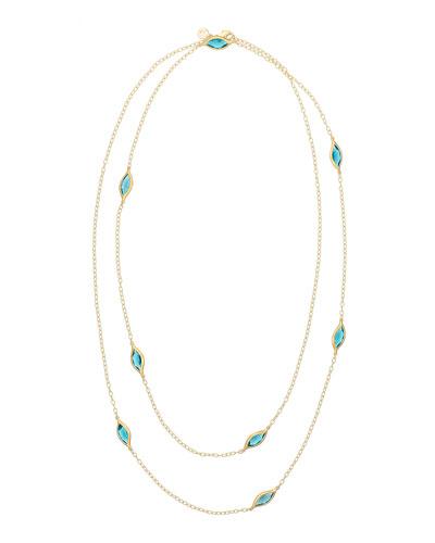 Blue Topaz Two-Strand Leaf Station Necklace, 36