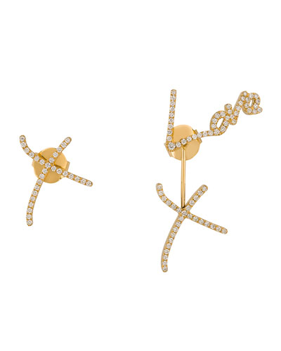 Stephen Webster LOVE & KISSES PAVÉ DIAMOND EARRINGS IN 18K YELLOW GOLD