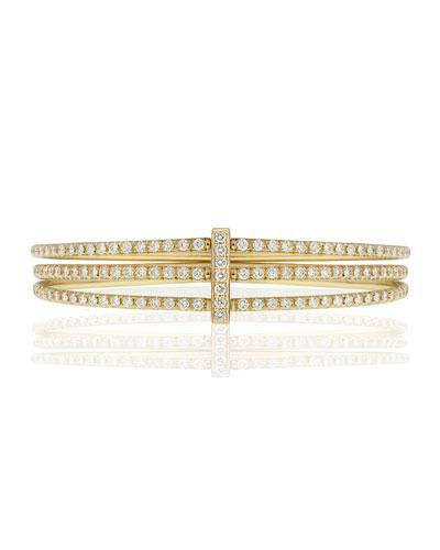 Moderne 18k Gold Three-Row Diamond Bangle