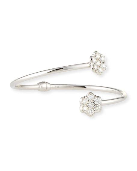 Bayco 18K White Gold & Diamond Floral Bypass Bracelet