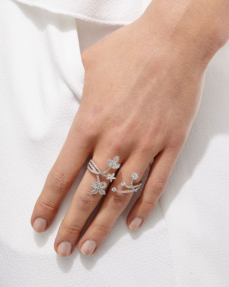 Floral Diamond Double-Finger Ring