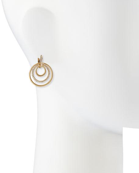 """Carelle 18k Moderne 3-Ring Pave Diamond Earrings, 1 1/8"""""""