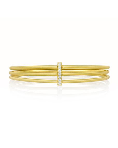 Carelle Moderne 18k Gold Three-Row Bangle with Diamond Bar