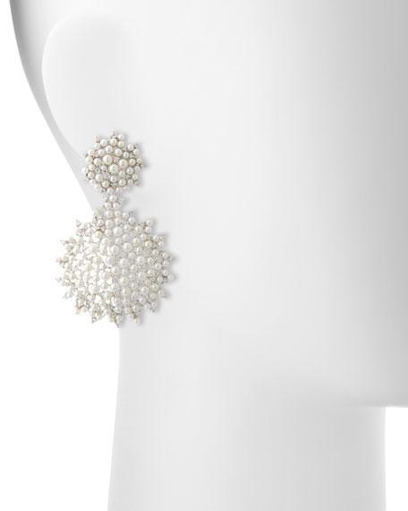 Lagrange 18K Large Pearl & Diamond Double-Dangle Earrings