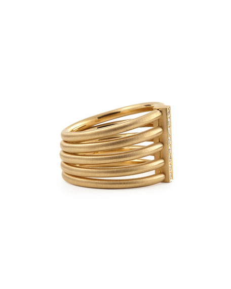Image 2 of 2: Carelle 18k Moderne 5-Stack Ring with Pave Diamonds, Size 6.5