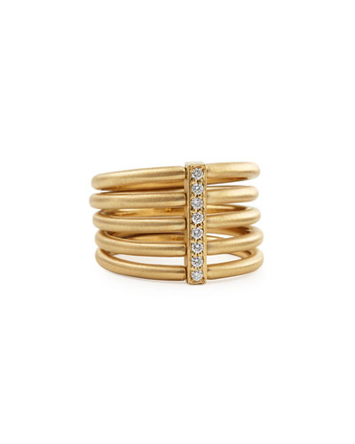 18k Moderne 5-Stack Ring with Pave Diamonds  Size 6.5