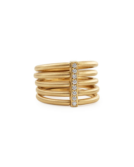 Image 1 of 2: Carelle 18k Moderne 5-Stack Ring with Pave Diamonds, Size 6.5