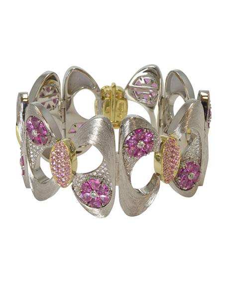 N-M Jewelry Shop Pink Sapphire & Diamond Bracelet in Brushed 18K White Gold
