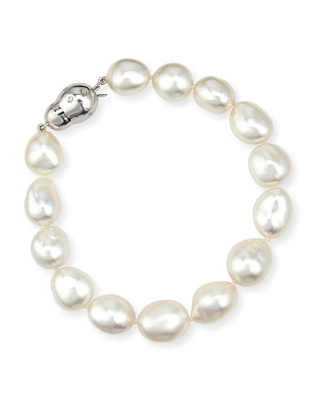 Assael 18K White Gold South Sea Baroque Pearl Bracelet