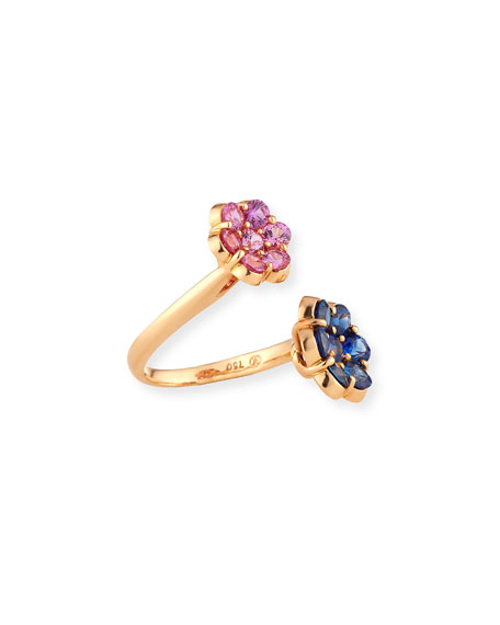 Bayco 18K Rose Gold Flower Bypass Ring with Pink & Blue Sapphires, Size 5.5