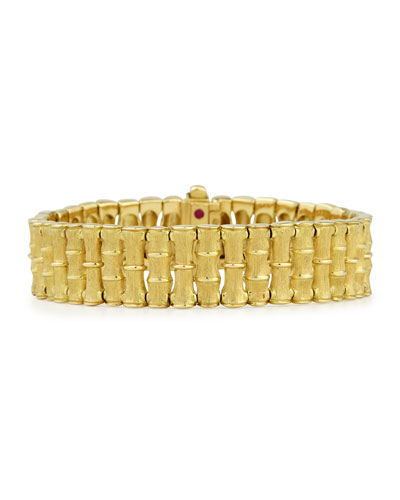 18k Gold Bamboo Bracelet with Diamond Clasp, Small