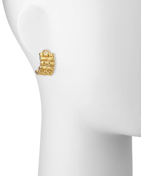 18k Yellow Gold Bamboo Earrings