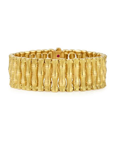 18k Gold Bamboo Bracelet with Diamond Clasp, Medium