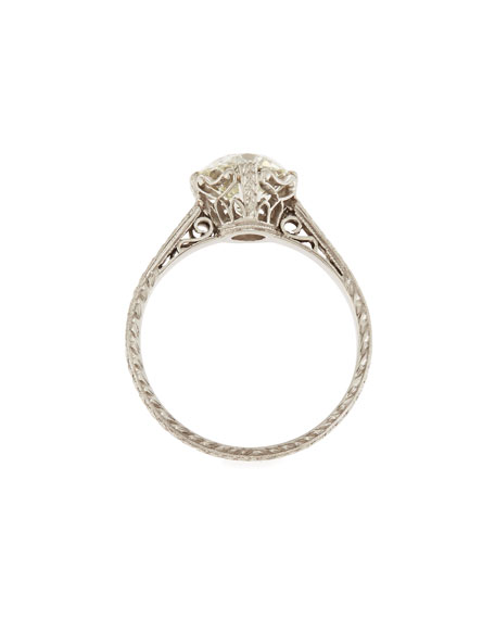 NM Estate Estate Edwardian Basket Diamond Solitaire Ring, Size 7.25