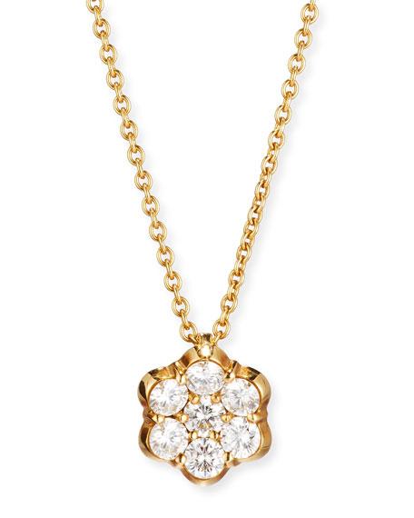 Bayco 18K GOLD & DIAMOND FLORAL PENDANT NECKLACE