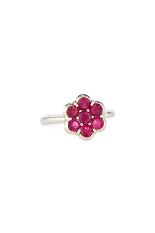 Bayco Platinum & Ruby Flower Ring, Size 6