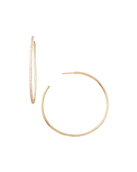 Roberto Coin 55mm Rose Gold Diamond Hoop Earrings, 2ct