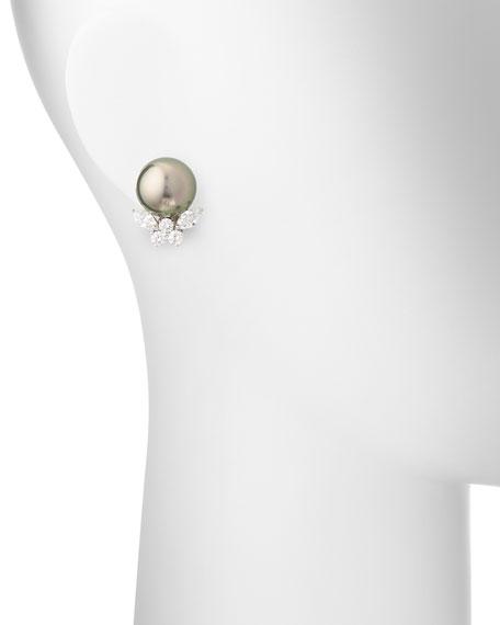 Assael Tahitian Pearl & Diamond Stud Clip Earrings